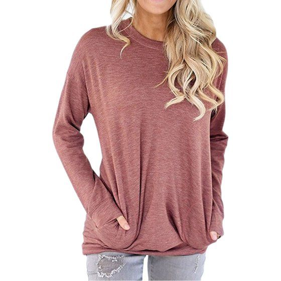 Nlife Women Solid Color Front Pocket Long Sleeve Autumn Casual Top