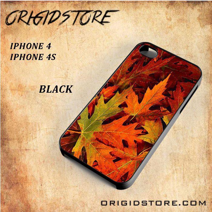 Autumn Red Orange Spring Leaf Black White Snap On 3D For Iphone 4/4S Case