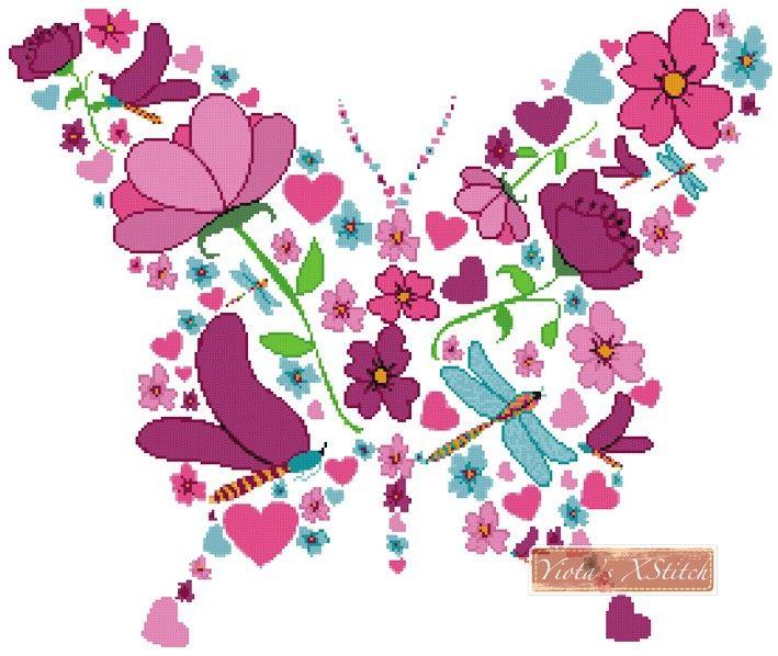 Spring butterfly cross stitch kit