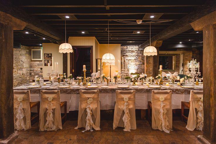 wedding table styling, reception ideas, cellar wedding, glamorous, beautiful table, unique, classic