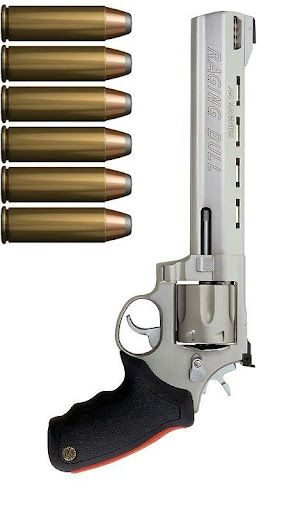 """""""Raging Bull .44 Magnum.. Another one of our children."""" - From Brazil, and an excellent handling revolver when ported. Taurus has a surprisingly good like worth checking out ~;^/>"""