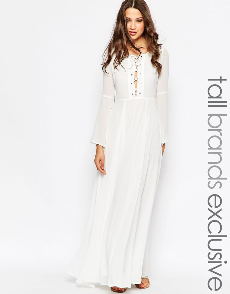 glamorous tall bell sleeve lace up maxi dress maxi kleider tuch