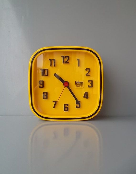 Yellow wall clock, Retro Clock, Vintage wall clock, BINO Italian clock, Yellow clock