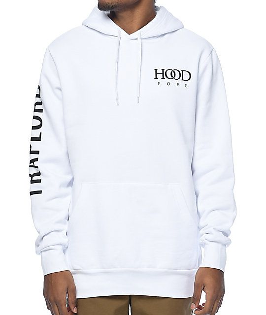 """Modernize your hoodie collection with the Hood Pope hoodie from Trap Lord. An all white, fleece lined hoodie features """"Hood Pope"""" at the left chest with &aquot;Trap Lord"""" written down the right sleeve."""