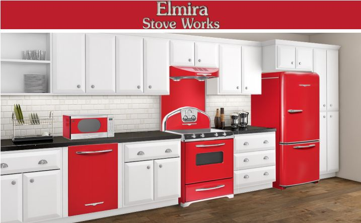 red retro kitchen, Kitchen