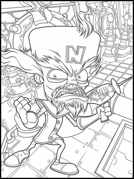 Crash Bandicoot 32 Printable coloring pages for kids
