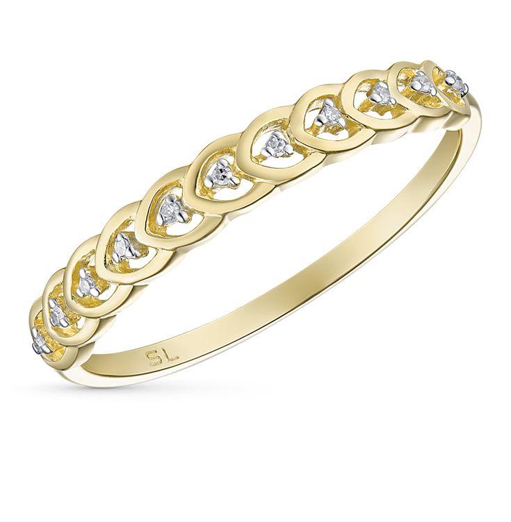 Золотое кольцо с бриллиантами SUNLIGHT: жёлтое золото 585 пробы, бриллиант — купить в интернет-магазине Санлайт, фото, артикул 37921
