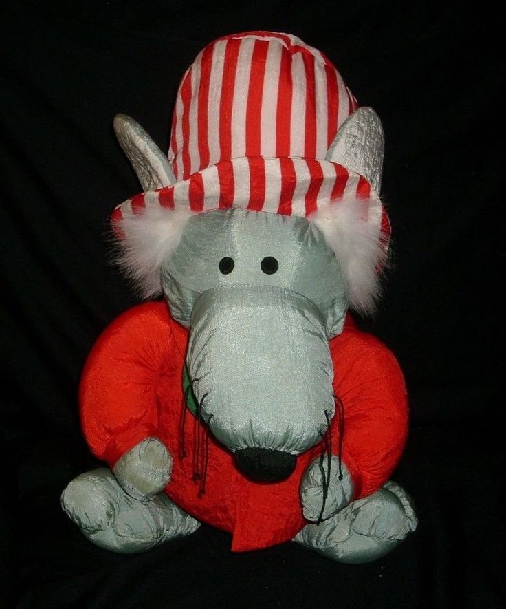 "14"" VINTAGE CHRISTMAS NYLON GREY MOUSE STUFFED ANIMAL PLUSH TOY J S INTERNATONAL"