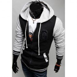 $15.60 Fashion Style Hooded Zipper Embellished Color Splicing Long Sleeves Coat For Men