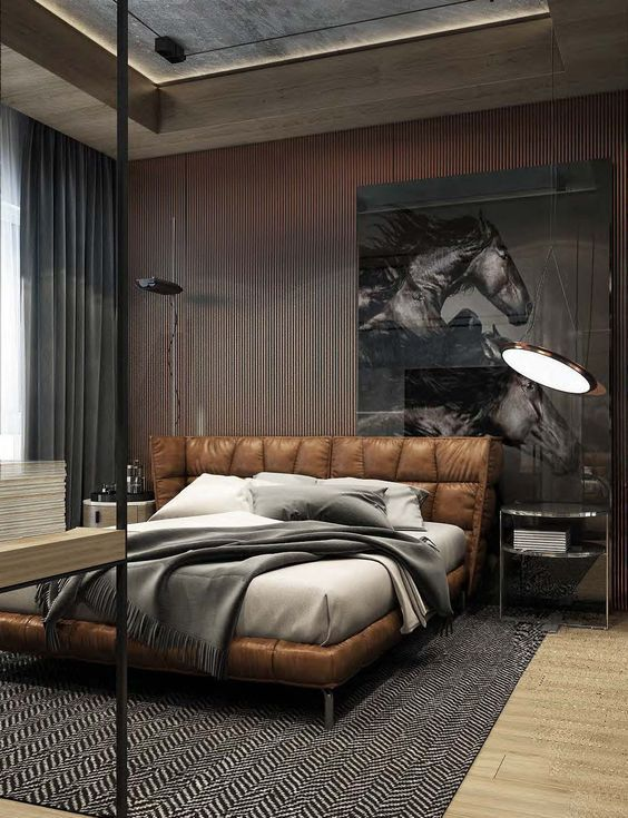 Best 25 leather bed ideas on pinterest black leather for Leather headboard designs