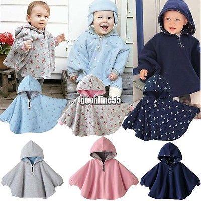 Cute Kids Baby Toddler Reversible Hooded Cape Cloak Poncho Coat Jacket Outwear