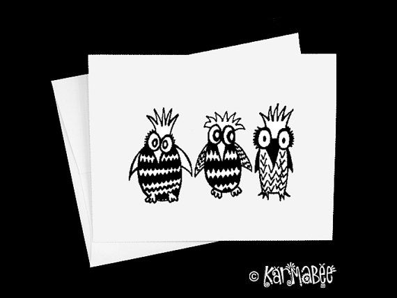 Owls Notecards by karmabee on Etsy