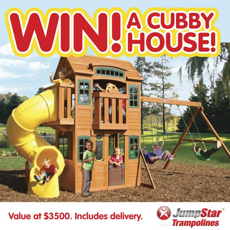 Win this incredible cubby house for your family!  Go to http://www.jumpstartrampolines.com.au/winpage.html  to get your entry in!!   Ends on 18/10/14