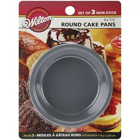 """Wilton 4""""x1.25"""" Mini Cake Pans, Round 3 ct. 2105-1829"""