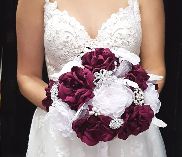 """Regal Burgundy Bridal Brooch Bouquet, Wedding Bouquet, Fabric Flower Bouquet. White organza and burgundy satin handmade fabric flowers. Silver gone brooches and white sparkling feather accents. 11"""" bouquet."""