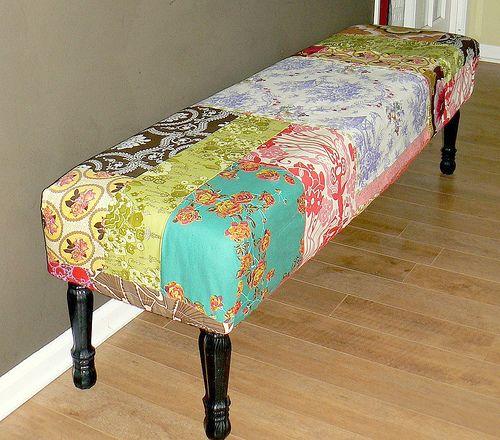 https://flic.kr/p/7Aes9j | DIY Patchwork Bench Cover | decor8blog.com/2009/05/29/gardenhouse-simone-howell/