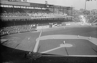 Polo Grounds expansion in progress during the 1923 season