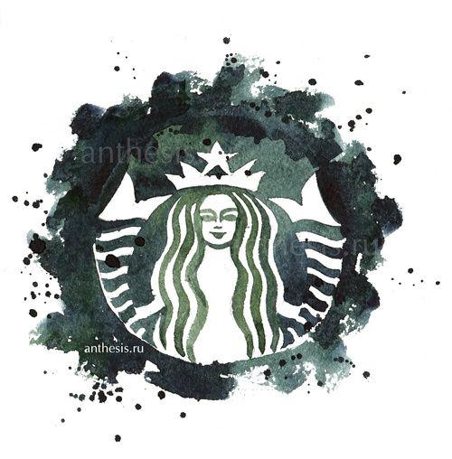 Starbucks logo watercolor sketch by RomashkinaV