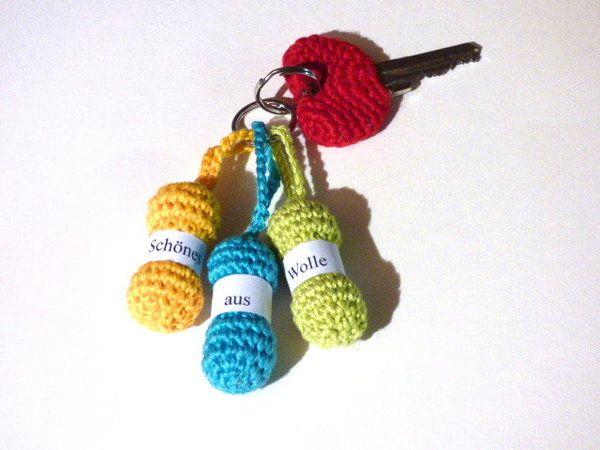 Häkelanleitung - Wollknäul Schlüsselanhänger - sehr einfach