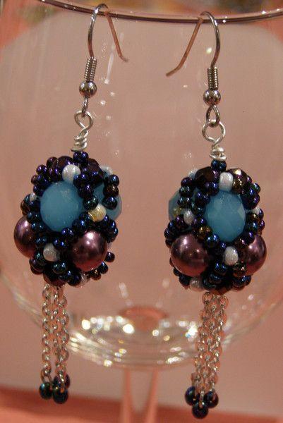 Glass Earrings – Dark blue beaded earrings – a unique product by DarkEyedJewels on DaWanda