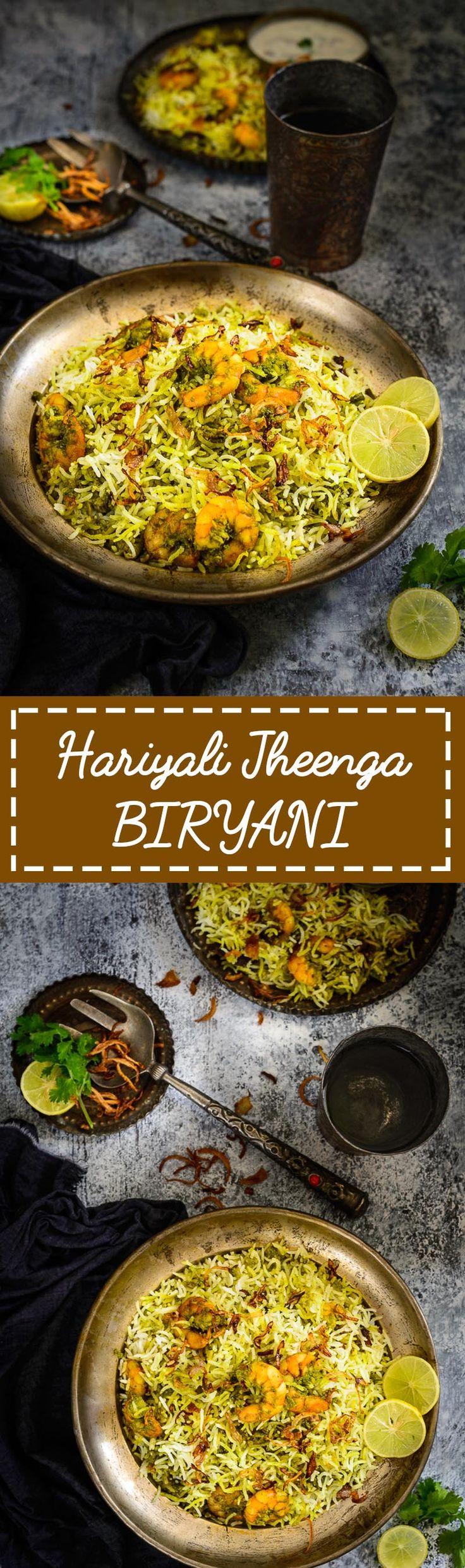 Hariyali Jheenga Biryani. Prawn biryani cooked in a  spicy green masala. Food Photography and styling by Neha Mathur.