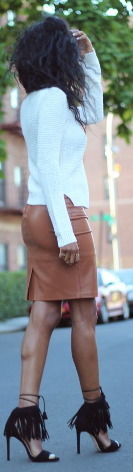 Style Nina White Ribbed Top Tan Leather Pencil Skirt Black Fringed Heels Fall Inspo