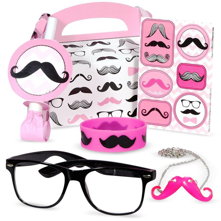 Pink Mustache Party Favor Box, 95856