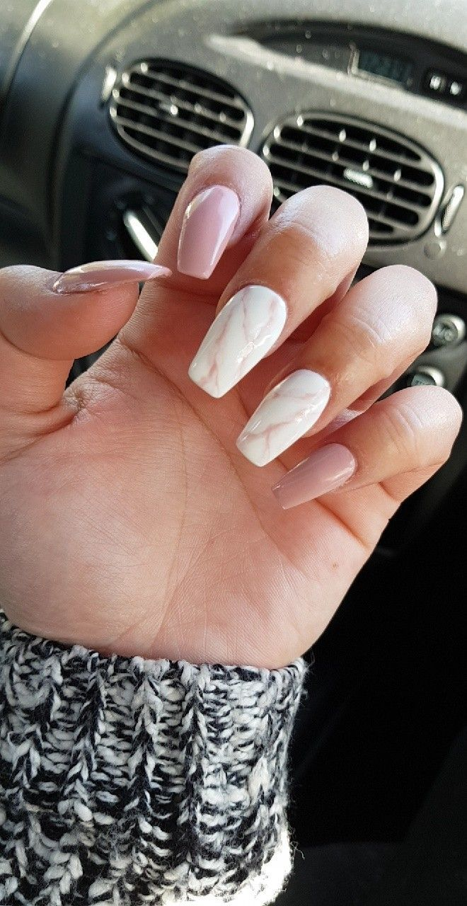 Marble Nails Pink White Pinkandwhitenails Cute In 2018 Pinterest Acrylic And Nail Designs