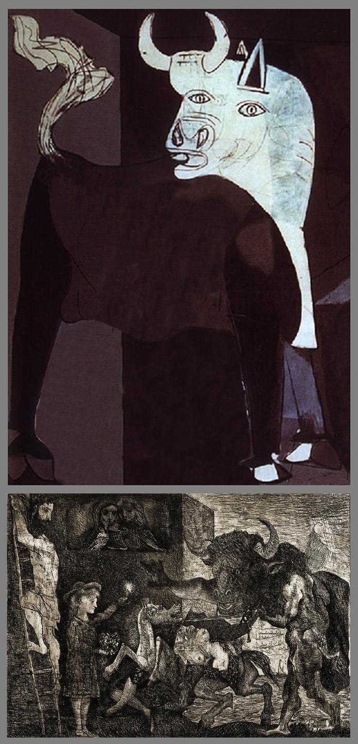 SYMBOLES ET RÉFÉRENCES DANS GUERNICA. La figure du taureau est un motif récurrent dans l'oeuvre entier de Picasso, soit sous la forme de la tauromachie (corrida) soit sous la forme mythologique du Minotaure. Dans Guernica, il est une figure ambigüe, symbole de la bestialité et de la cruauté pour les uns et symbole de la force et de la résistance pour les autres.