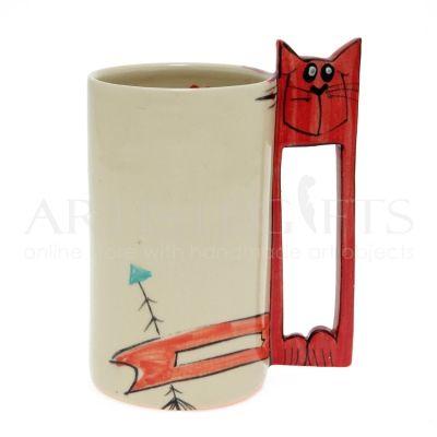 Κούπα Κεραμική Με Χερούλι Γάτα. Αποκτήστε το online πατώντας στον παρακάτω σύνδεσμο http://www.artistegifts.com/koupa-keramiki-xeroyli-gata.html