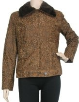 Women's Jacket with Faux Fur Collar by Erin London - L