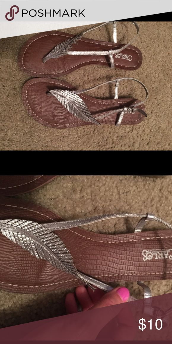Carlos by Carlos Santana sandals w/ silver feather Carlos by Carlos Santana brown leather sandals with silver glittery feather on strap, excellent condition-only worn once, size 8.5 Carlos Santana Shoes Sandals