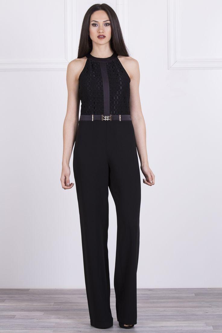Modelleri ve elbise fiyatlar modasor com pictures to pin on pinterest - Saten Biye Ve Dantel Detayl Bol Pa A Krep Tulum