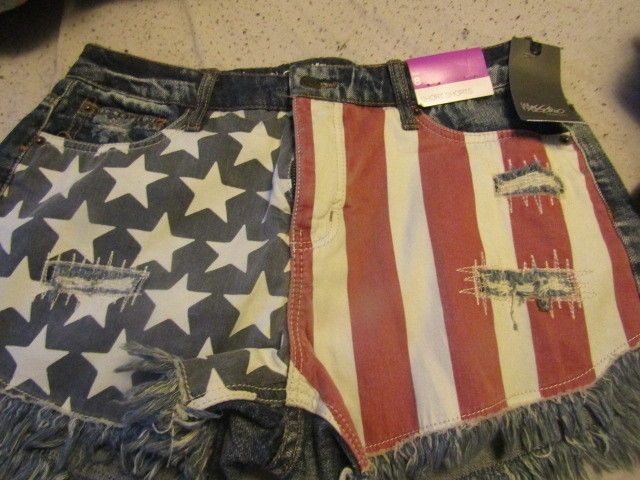 Mossimo American Flag USA Denim Daisy Duke Shorts  Size 8  #Mossimo #highrise