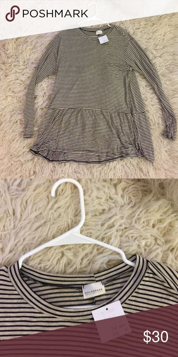 Long Stripe Peplum Top Size M. Long top. Great for layering or just being cute casual - haven't worn. Tags still on. Got from a boutique. Tops Tees - Long Sleeve