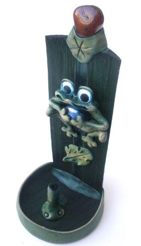 Frogs Themed Wooden Decorative Handmade Incense Burner Holder Stand $13.95