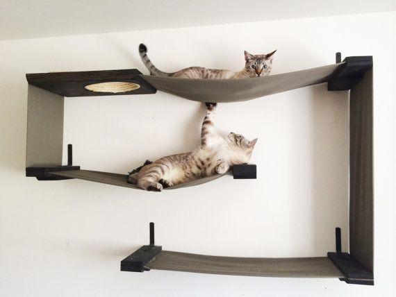 Stof Cat Maze kat hangmat planken van CatastrophiCreations op Etsy