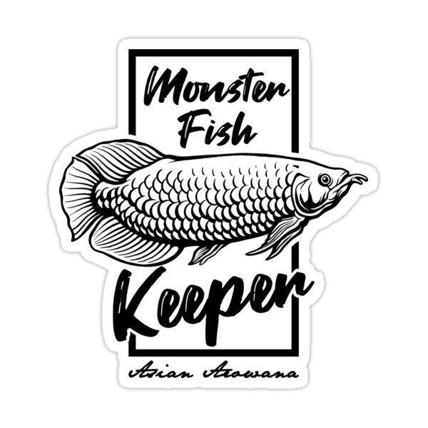 Monster Fish Keeper Asian Arowana Tropical Fish Sticker By Jrrts In 2021 Monster Fishing Fish Fish Design