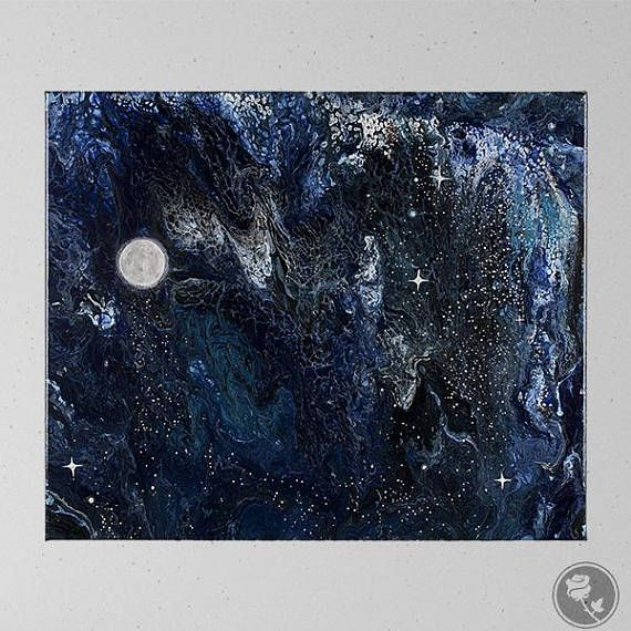 Space Art, Space Painting, Flow Painting, Pour Painting, Planets Art, Astronomy Art, Abstract Space Art, Night Sky Painting, Abstract Art by Heather Miller, WhiteRose's Art