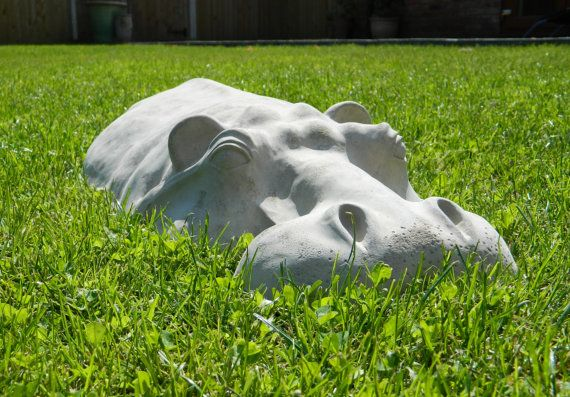 "Hippopotamus, Large Garden Ornament, Hippo Sculpture 27"" Long, Concrete Cast"