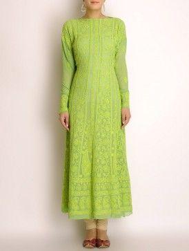 Lime Green Georgette Chikankari Embroidered Kurta Fabric