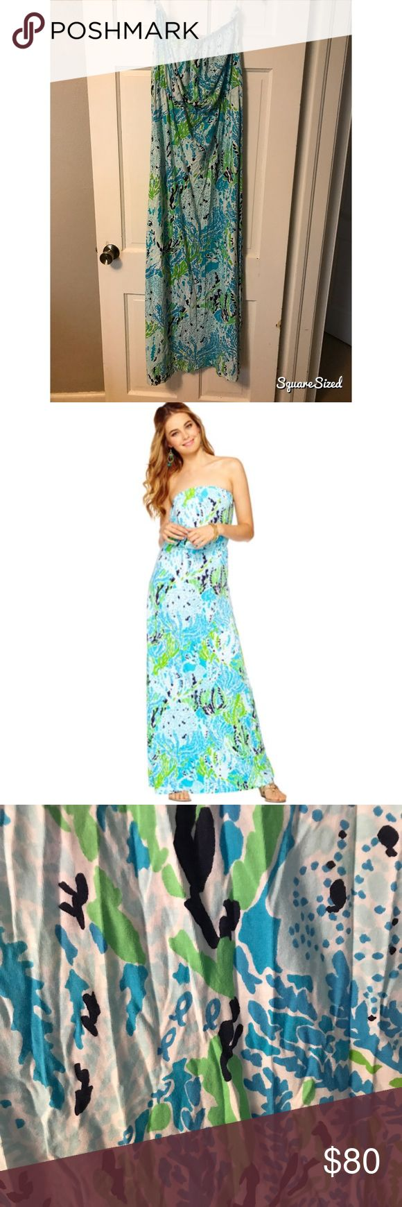 MARLISA STRAPLESS MAXI DRESS Lilly Pulitzer Daytime maxi dresses are a summer staple. This elastic waistband dress flatters your figure while covering you in lux fabric. You'll want the Marlisa in every print and pattern. Printed Strapless Maxi Dress With Elastic Waist. Pima Cotton Jersey - (100% Cotton). Machine Wash Cold, Inside Out.  Style #: 83839 Lilly Pulitzer Dresses Maxi