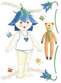 Påklædningsdukken blå blomsterpige
