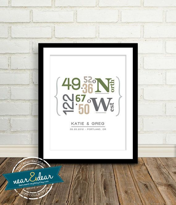 Modern Housewarming gift ~ Personalized Latitude and Longitude Coordinates : Present For New Homeowners- Custom Gift - Newlywed Gifts