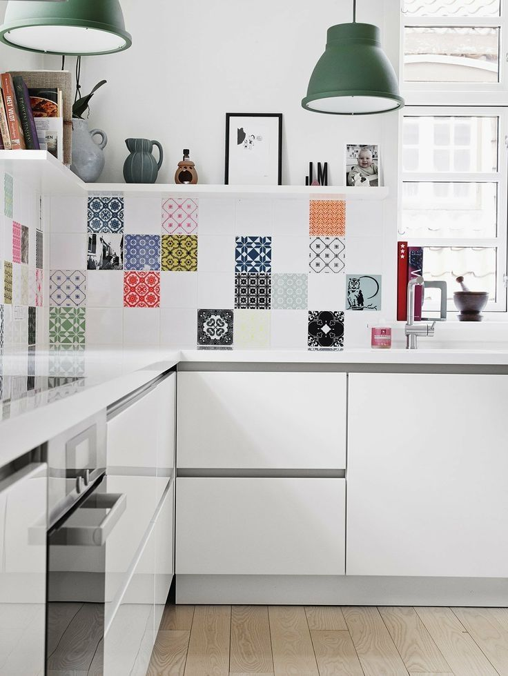 Patterned Wall tiles in contemporary kitchen