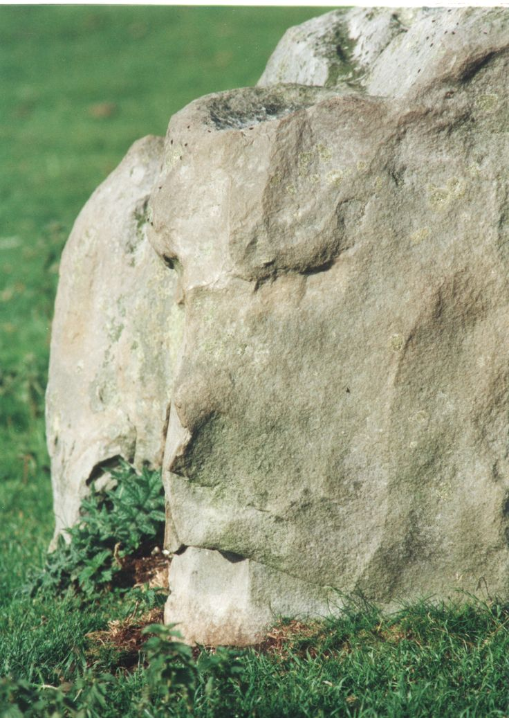 Megalith with carved human head at North Temple. British Neolithic /EBA. Dr Terence Meaden