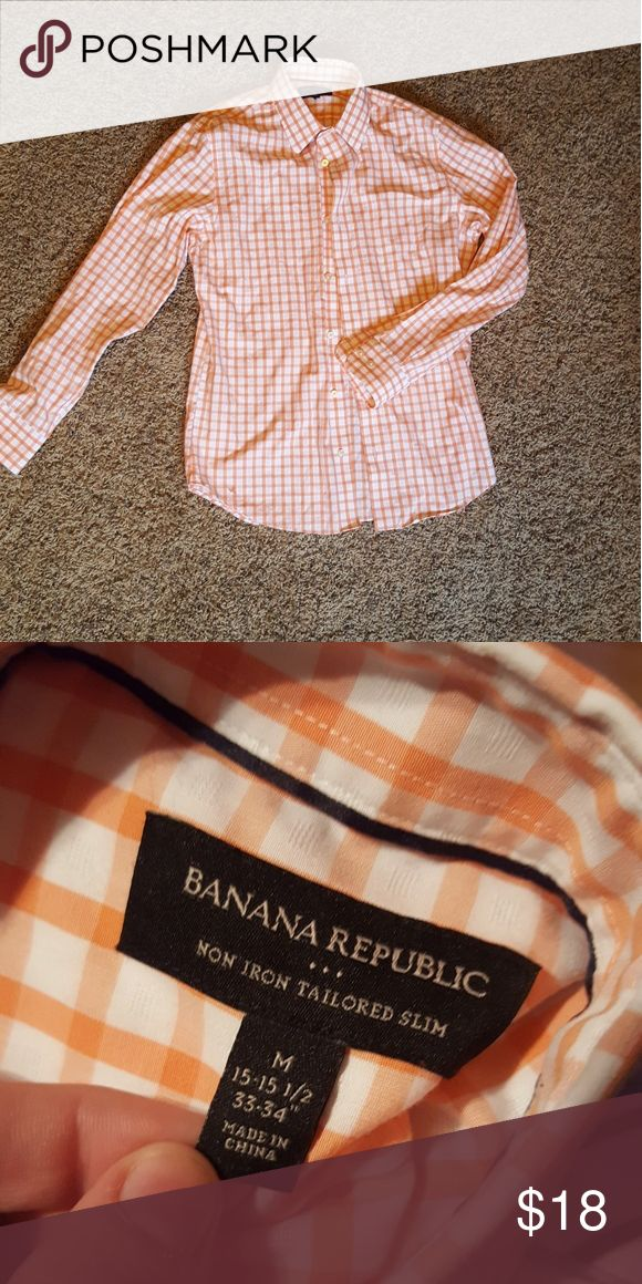 Banana Republic Shirt Mens shirt  Size medium  Orange and white in color  Can include image of shirt tag  Originally $45.00 Banana Republic Shirts Casual Button Down Shirts