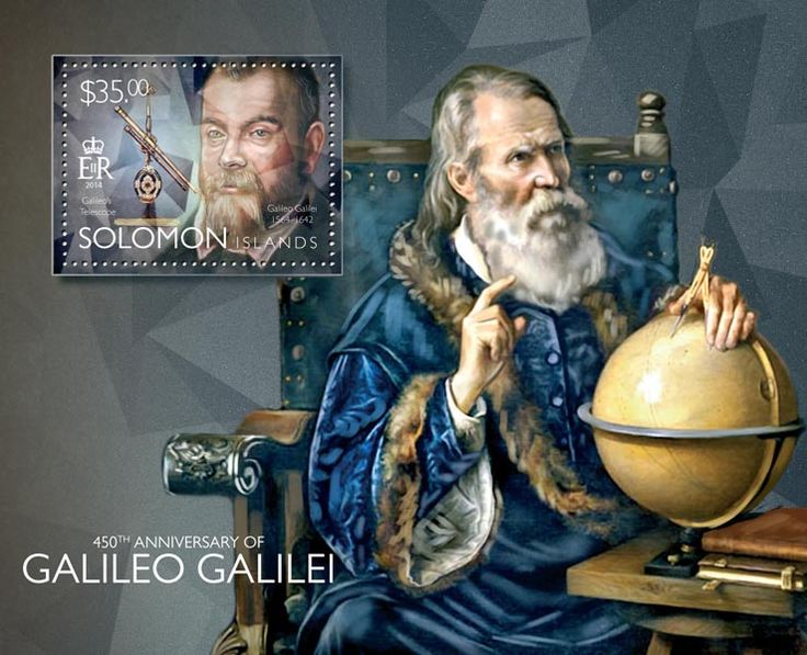 Post stamp Solomon Islands SLM 14506 b	450th anniversary of Galileo Galilei (1564-1642. Galileo's telescope)