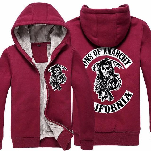 2016 Fashion New Men Bodo Sons Of Anarchy Zipper Thicker Hoodies Winter Warm Cotton Men's Sweatshirts Zipper O-neck Hooded