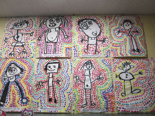 """Portrait arc-en-ciel. Pour débuter, les enfants doivent tout d'abord réaliser leur portrait au pinceau avec de la gouache noire. Ensuite, ils trempent le bout d'un crayon-feutre """"Crayola"""" dans de la gouache de couleur. Ils étampent autour du personnage de façon à créer une bulle."""
